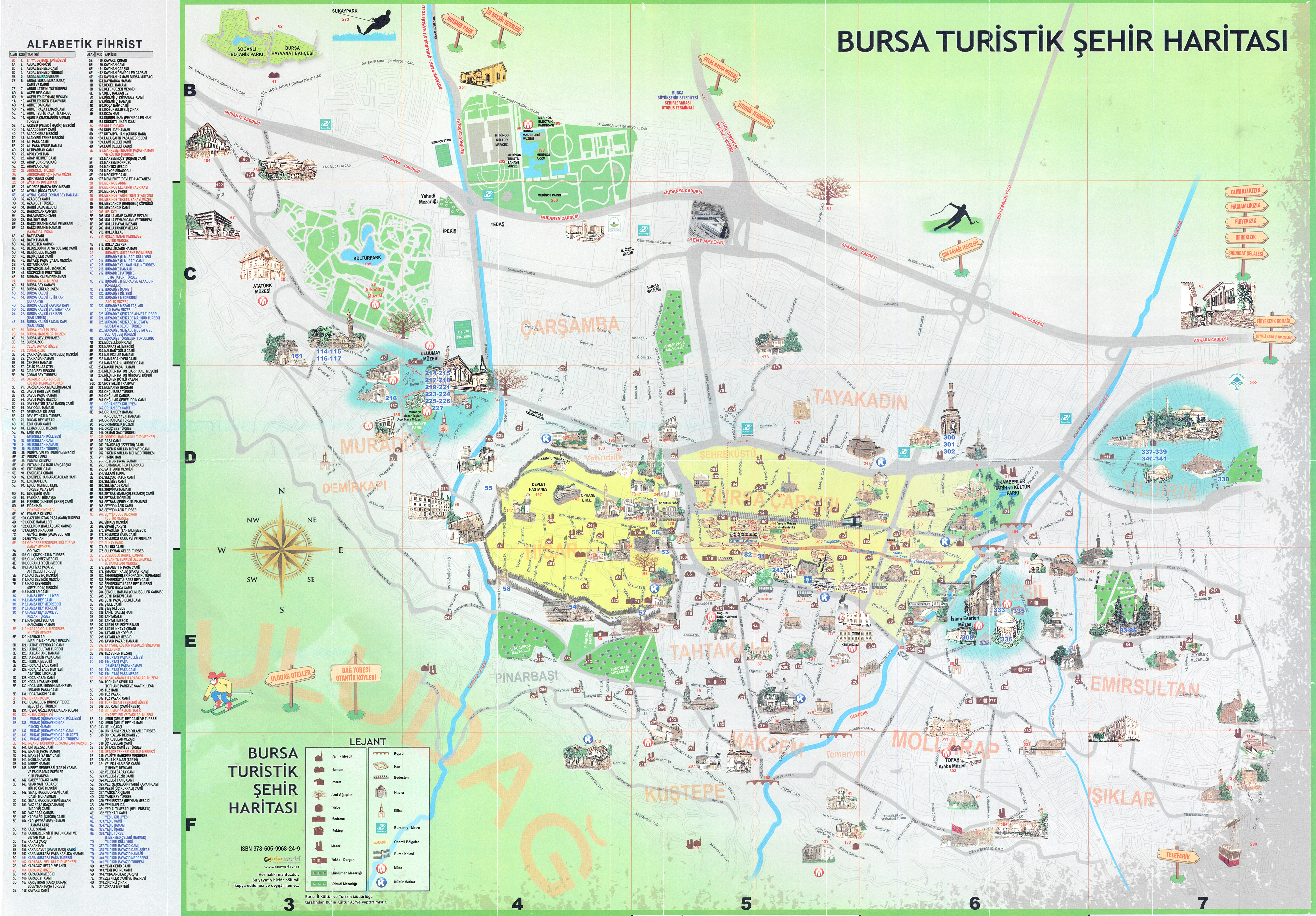 Bursa City Center Tourism Map